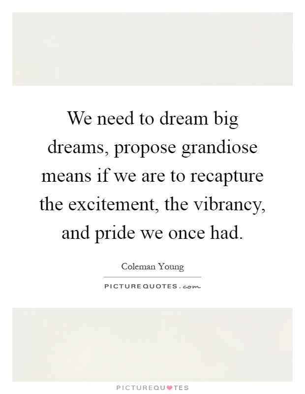 We need to dream big dreams, propose grandiose means if we are to recapture the excitement, the vibrancy, and pride we once had Picture Quote #1