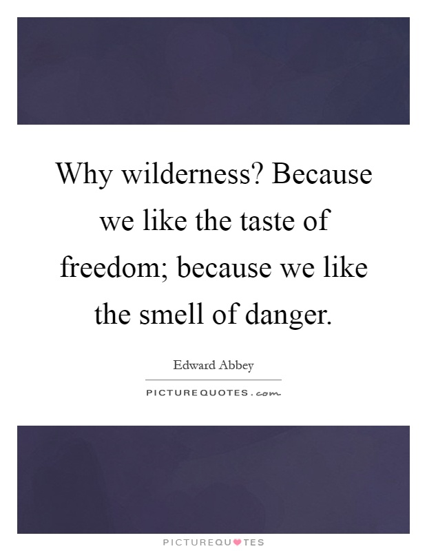 Why wilderness? Because we like the taste of freedom; because we like the smell of danger Picture Quote #1