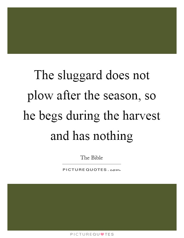 The sluggard does not plow after the season, so he begs during the harvest and has nothing Picture Quote #1