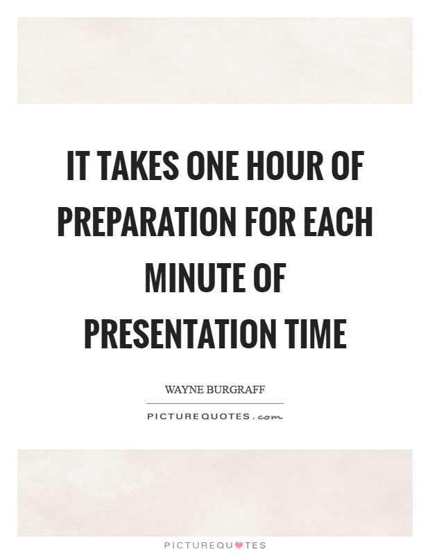 It takes one hour of preparation for each minute of presentation time Picture Quote #1
