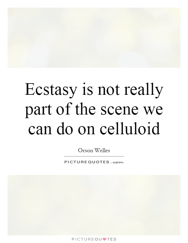 Ecstasy is not really part of the scene we can do on celluloid Picture Quote #1