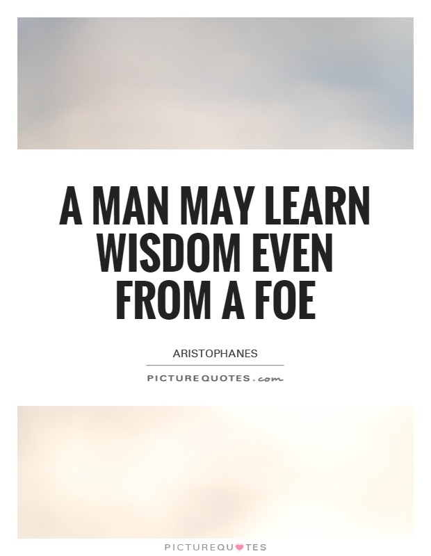 A man may learn wisdom even from a foe Picture Quote #1