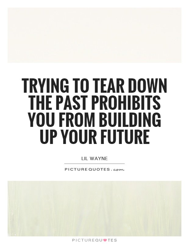Trying to tear down the past prohibits you from building up your future Picture Quote #1