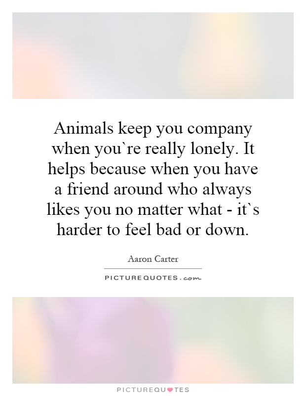 Animals keep you company when you`re really lonely. It helps because when you have a friend around who always likes you no matter what - it`s harder to feel bad or down Picture Quote #1