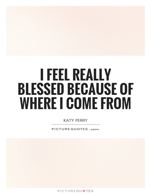 I feel really blessed because of where I come from Picture Quote #1