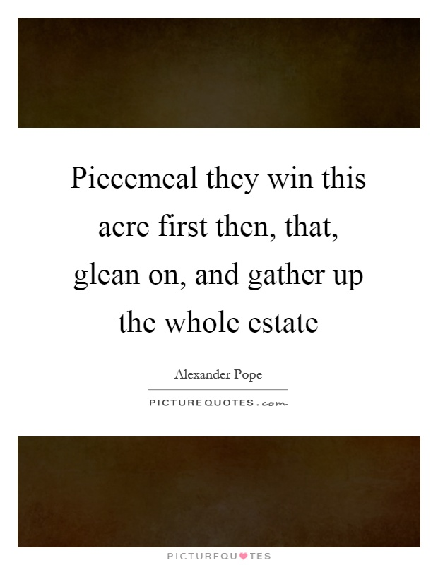Piecemeal they win this acre first then, that, glean on, and gather up the whole estate Picture Quote #1