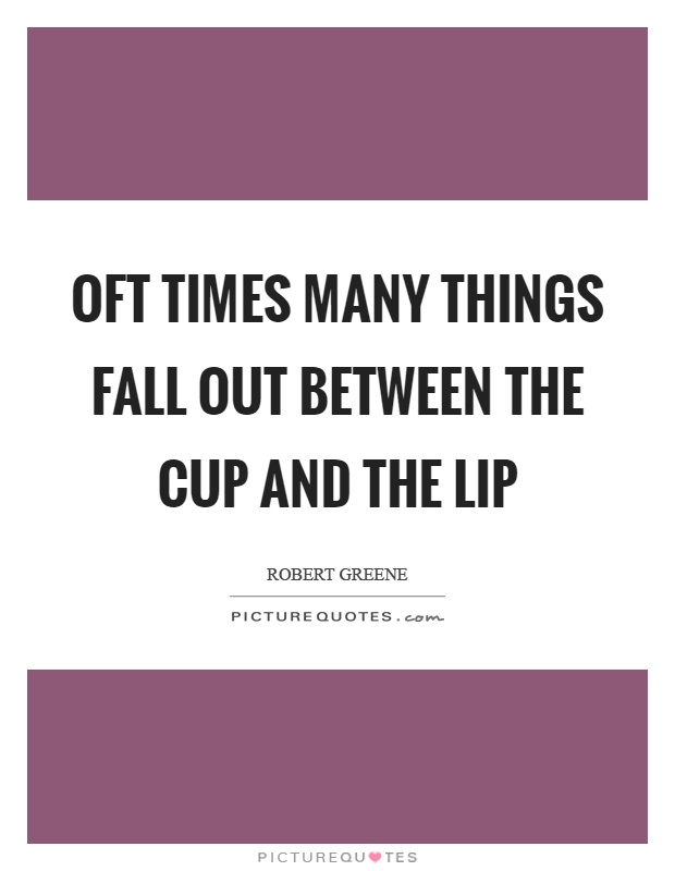 Oft times many things fall out between the cup and the lip Picture Quote #1