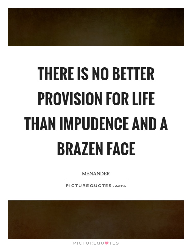 There is no better provision for life than impudence and a brazen face Picture Quote #1