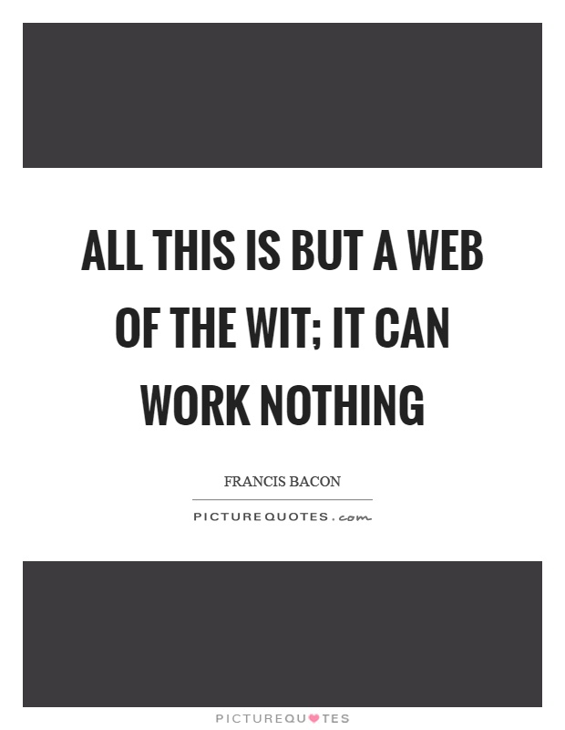 All this is but a web of the wit; it can work nothing Picture Quote #1