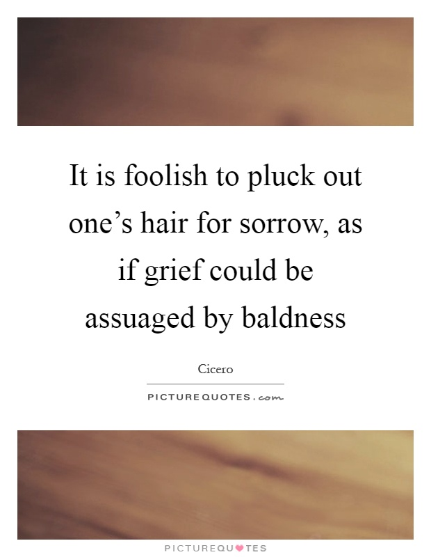 It is foolish to pluck out one's hair for sorrow, as if grief could be assuaged by baldness Picture Quote #1