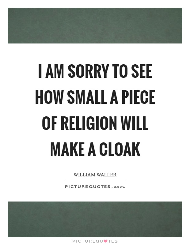 I am sorry to see how small a piece of religion will make a cloak Picture Quote #1