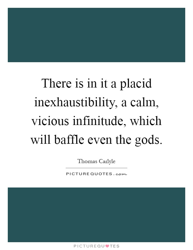 There is in it a placid inexhaustibility, a calm, vicious infinitude, which will baffle even the gods Picture Quote #1