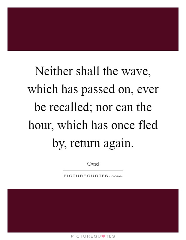 Neither shall the wave, which has passed on, ever be recalled; nor can the hour, which has once fled by, return again Picture Quote #1