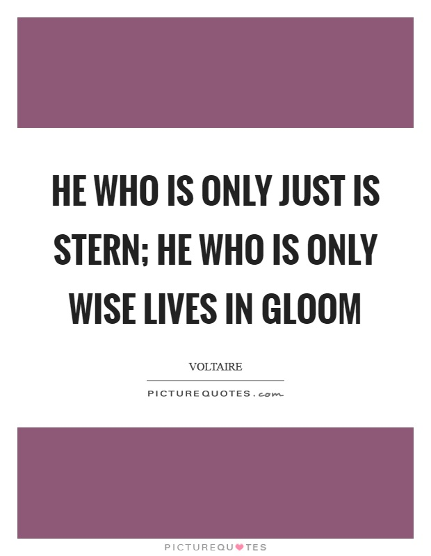 He who is only just is stern; he who is only wise lives in gloom Picture Quote #1