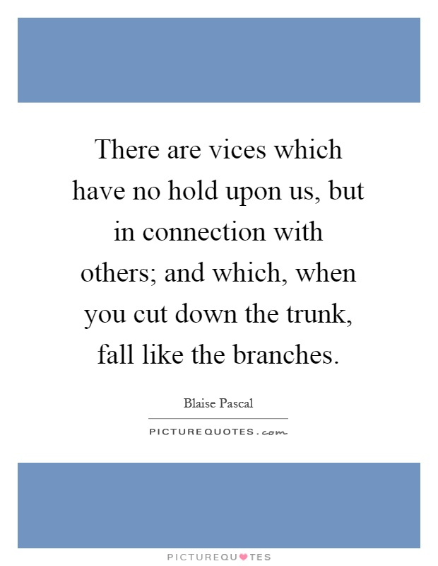 There are vices which have no hold upon us, but in connection with others; and which, when you cut down the trunk, fall like the branches Picture Quote #1