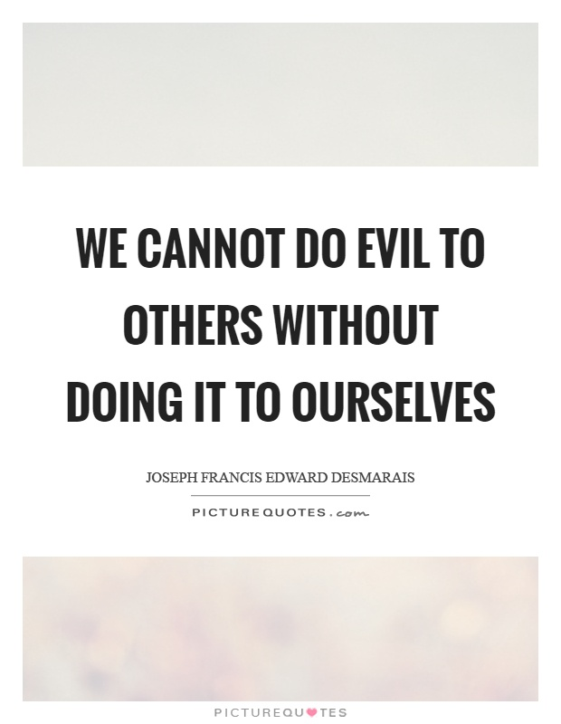 We cannot do evil to others without doing it to ourselves Picture Quote #1