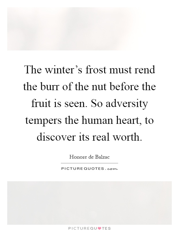 The winter's frost must rend the burr of the nut before the fruit is seen. So adversity tempers the human heart, to discover its real worth Picture Quote #1