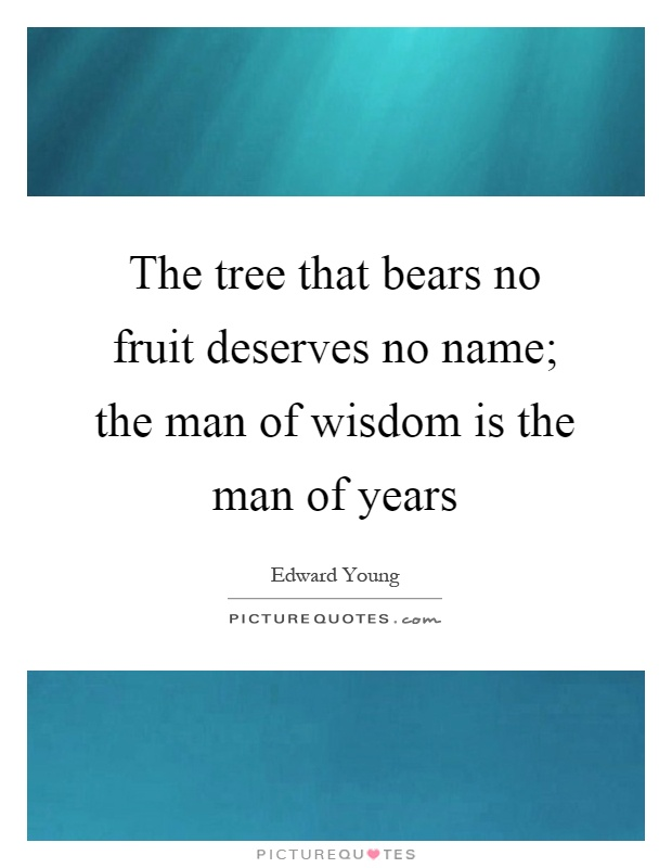 The tree that bears no fruit deserves no name; the man of wisdom is the man of years Picture Quote #1