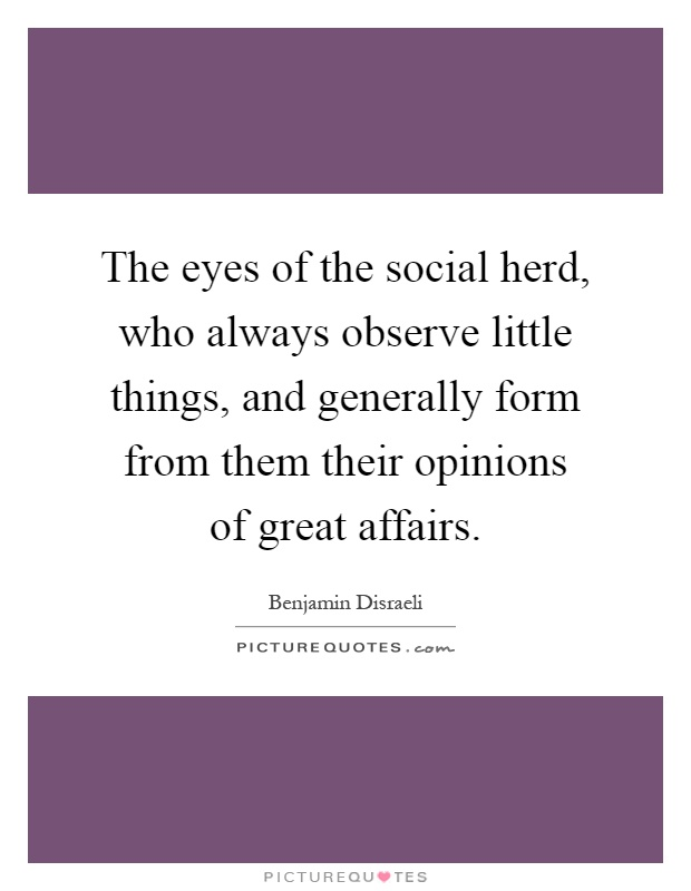 The eyes of the social herd, who always observe little things, and generally form from them their opinions of great affairs Picture Quote #1