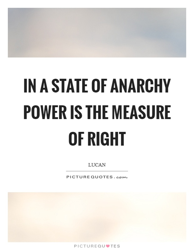In a state of anarchy power is the measure of right Picture Quote #1