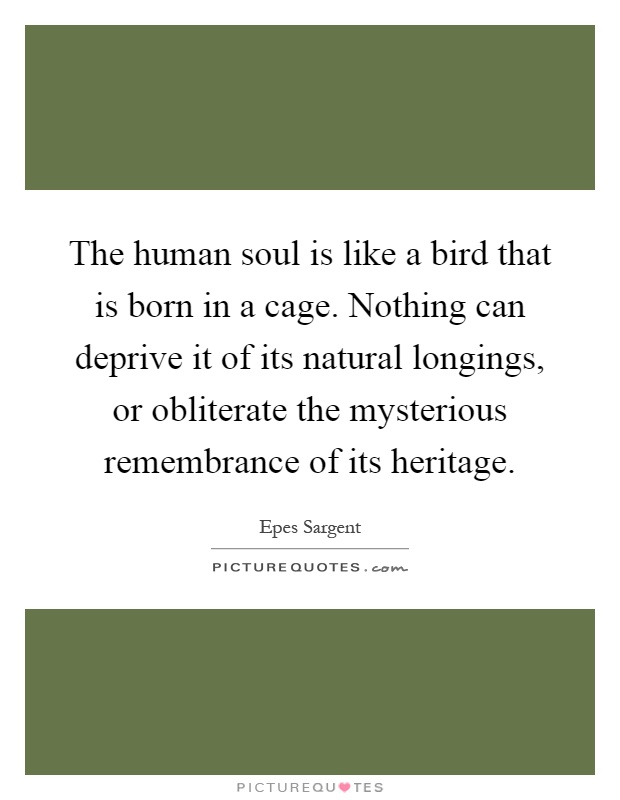The human soul is like a bird that is born in a cage. Nothing can deprive it of its natural longings, or obliterate the mysterious remembrance of its heritage Picture Quote #1