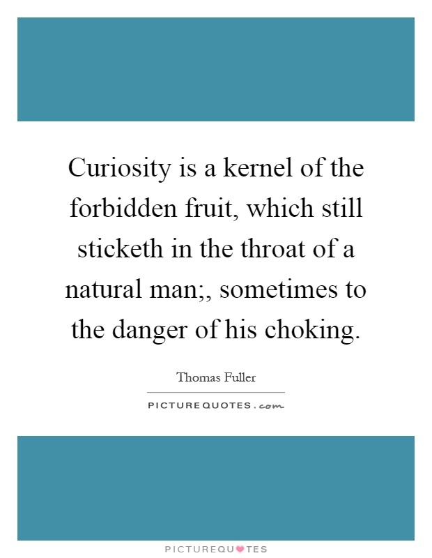 Curiosity is a kernel of the forbidden fruit, which still sticketh in the throat of a natural man;, sometimes to the danger of his choking Picture Quote #1
