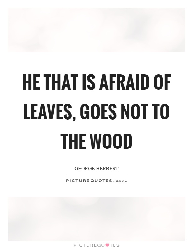 He that is afraid of leaves, goes not to the wood Picture Quote #1