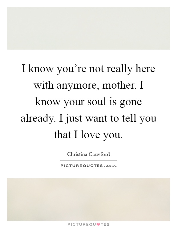 I know you're not really here with anymore, mother. I know your soul is gone already. I just want to tell you that I love you Picture Quote #1