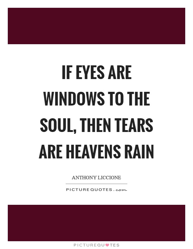 If eyes are windows to the soul, then tears are heavens rain Picture Quote #1