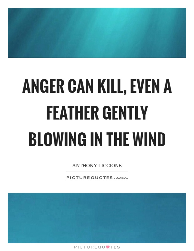Anger can kill, even a feather gently blowing in the wind Picture Quote #1