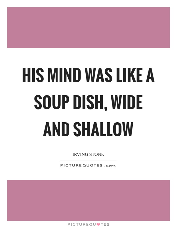 His mind was like a soup dish, wide and shallow Picture Quote #1