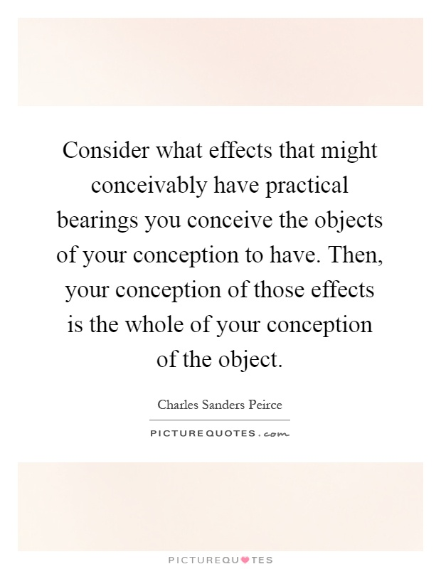 Consider what effects that might conceivably have practical bearings you conceive the objects of your conception to have. Then, your conception of those effects is the whole of your conception of the object Picture Quote #1