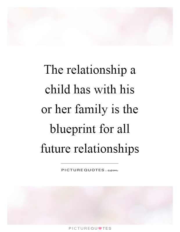 The relationship a child has with his or her family is the blueprint for all future relationships Picture Quote #1