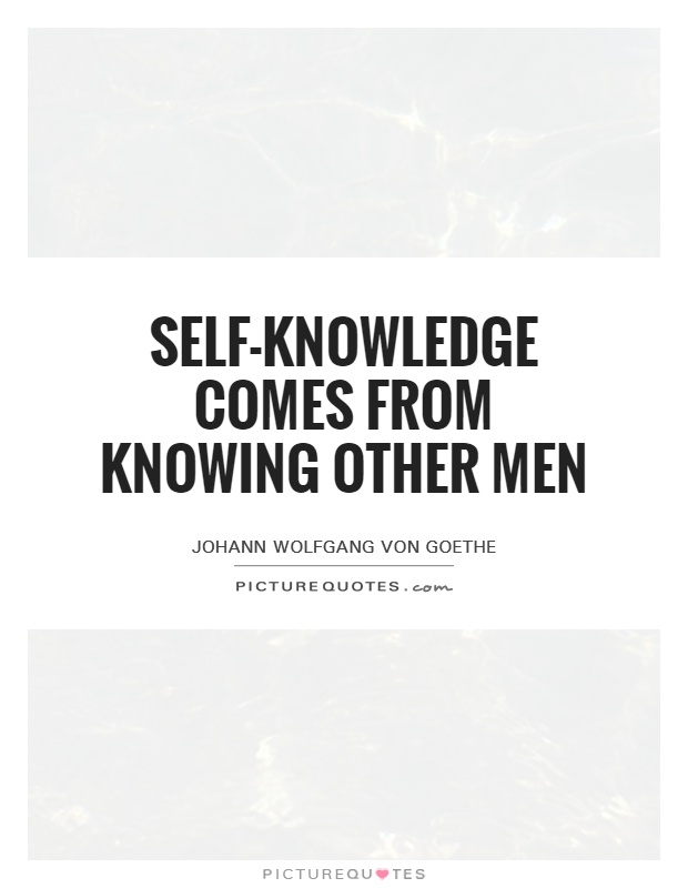 Self-knowledge comes from knowing other men Picture Quote #1