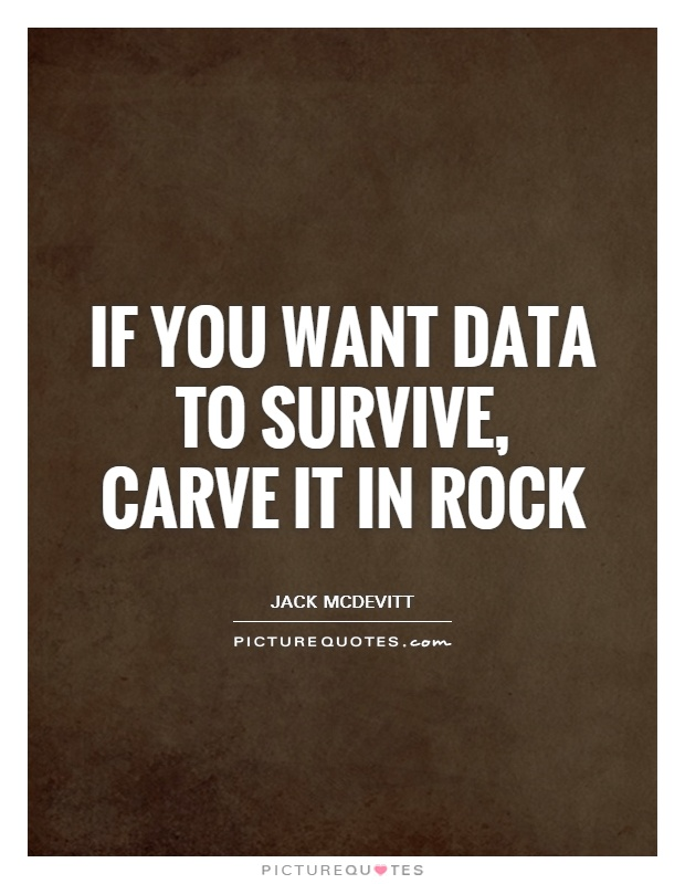 If you want data to survive, carve it in rock Picture Quote #1