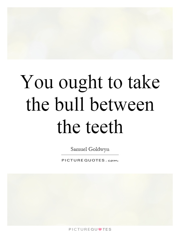 You ought to take the bull between the teeth Picture Quote #1