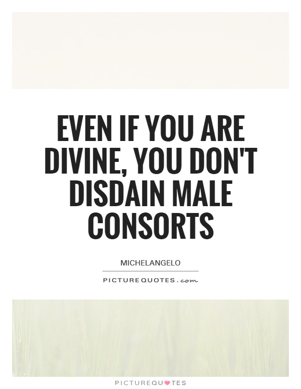 Even if you are divine, you don't disdain male consorts Picture Quote #1