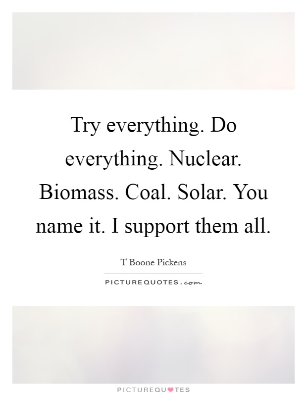 Try everything. Do everything. Nuclear. Biomass. Coal. Solar. You name it. I support them all Picture Quote #1