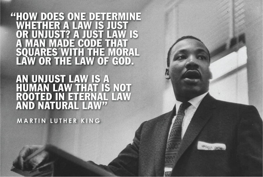 "the principle of natural law in letter from a birmingham jail by martin luther king jr Business law and the legal environment full - this text was  natural law was  in his ""letter from birmingham jail,"" martin luther king jr claims that."