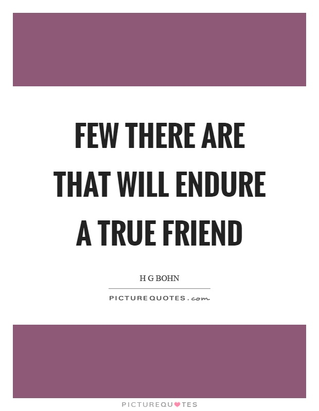 Few there are that will endure a true friend Picture Quote #1