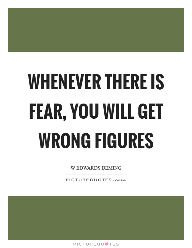 Whenever there is fear, you will get wrong figures Picture Quote #1