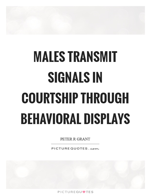 Males transmit signals in courtship through behavioral displays Picture Quote #1