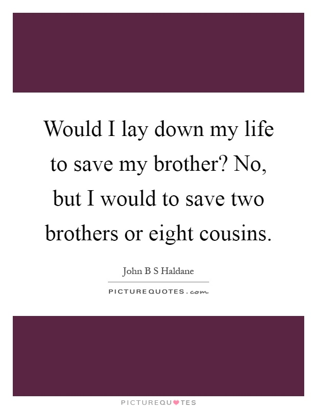 Would I lay down my life to save my brother? No, but I would to save two brothers or eight cousins Picture Quote #1