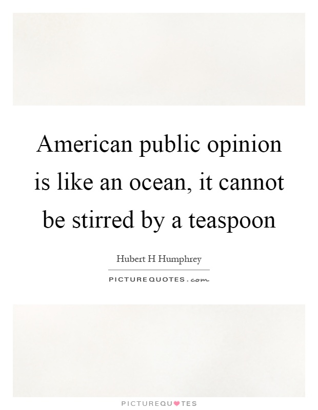American public opinion is like an ocean, it cannot be stirred by a teaspoon Picture Quote #1
