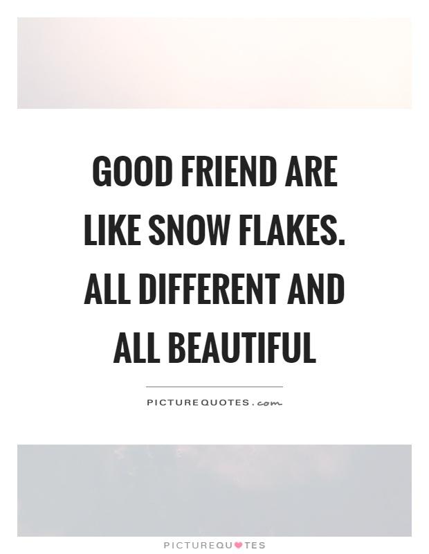 Good friend are like snow flakes. All different and all beautiful Picture Quote #1