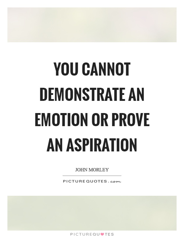 You cannot demonstrate an emotion or prove an aspiration Picture Quote #1