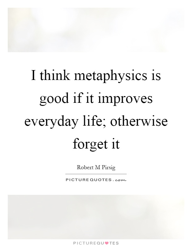 I think metaphysics is good if it improves everyday life; otherwise forget it Picture Quote #1