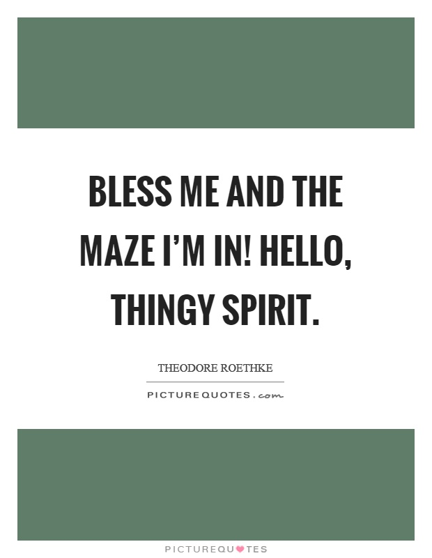 Bless me and the maze I'm in! Hello, thingy spirit Picture Quote #1