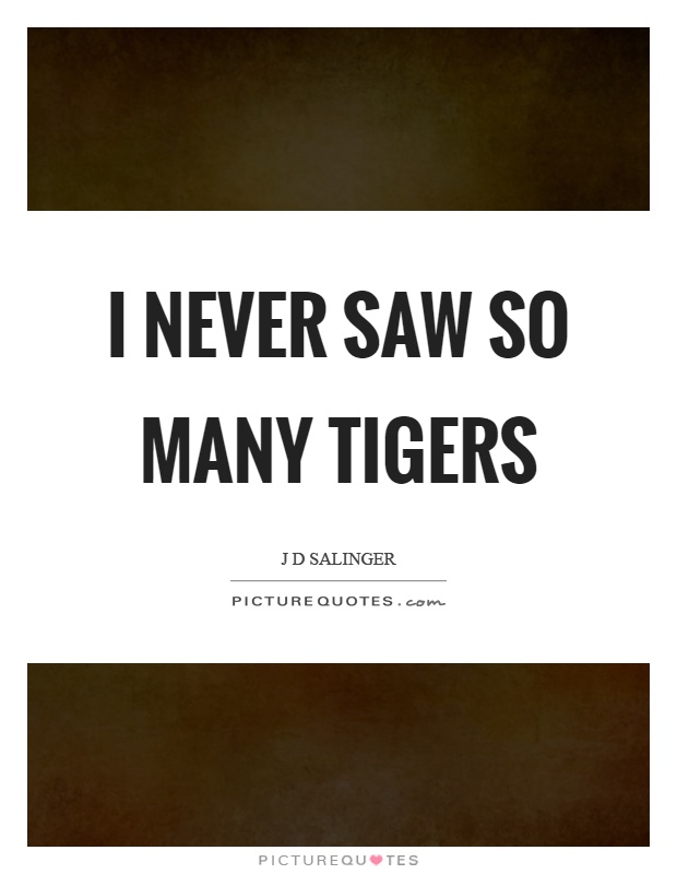 I never saw so many tigers Picture Quote #1