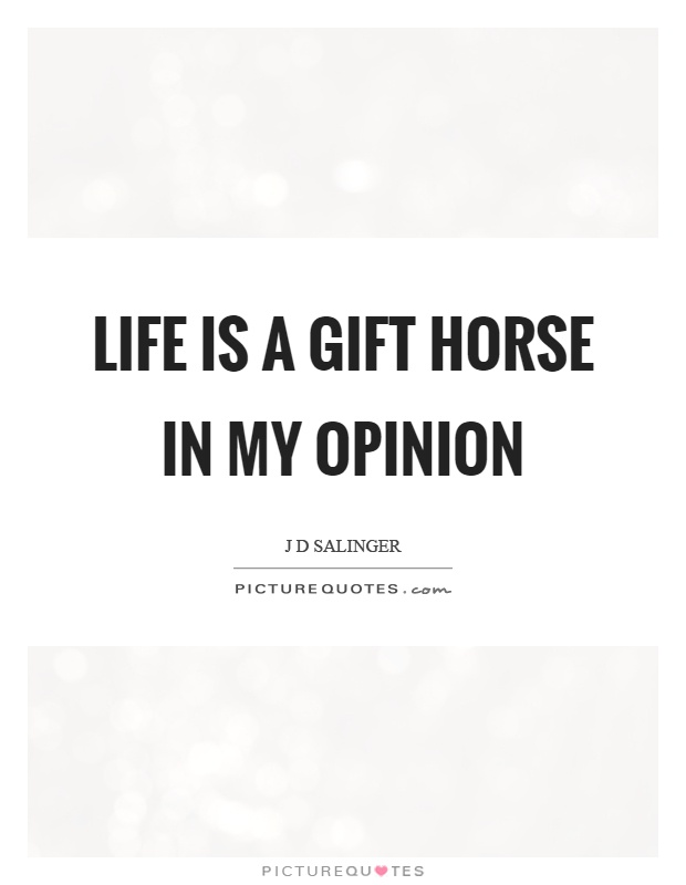 Life is a gift horse in my opinion Picture Quote #1